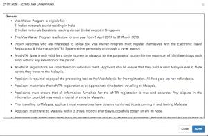 Malaysia eNTRI visa website